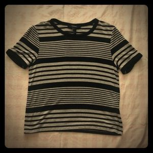 Black grey striped top